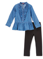 Denim Peplum Tunic & Black Leggings Set - Toddler & Girls