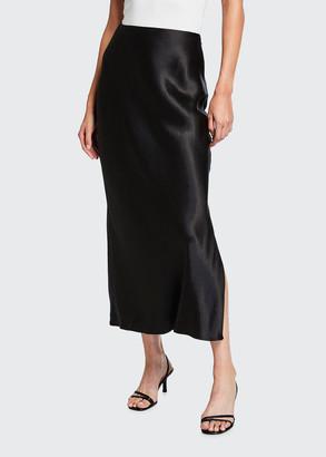 Vince Side Slit Midi Satin Slip Skirt