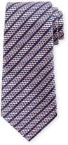 Ermenegildo Zegna Dashed Stripe Silk Tie, Pink