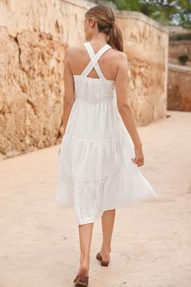 Next Womens White Broderie Midi Dress - White