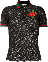 Gucci lace polo shirt - women - Cotton/Viscose/Polyimide - L