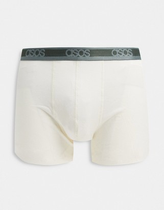 ASOS DESIGN trunk in stone pique fabric with contrast teal branded waistband