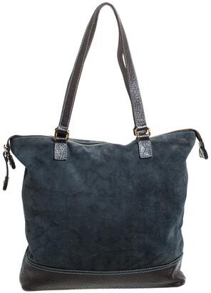 Alviero Martini Blue/Dark Brown Geo Print Fabric and Leather Tote