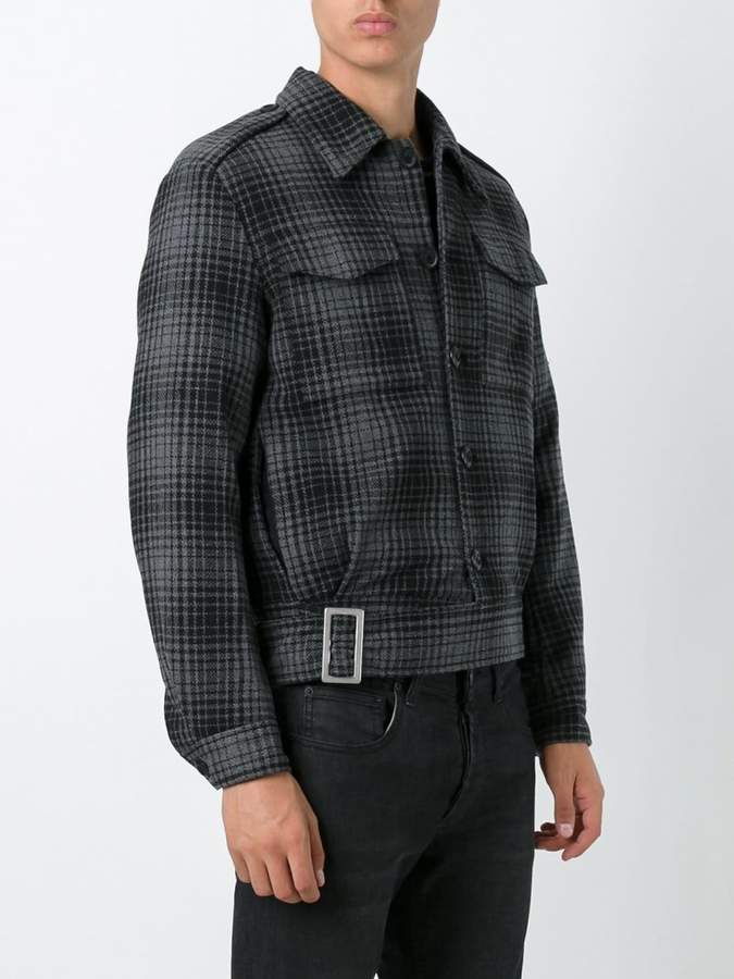 Off-White checked striped back jacket