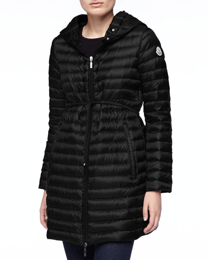 Moncler Long Puffer Coat with Drawstring, Black