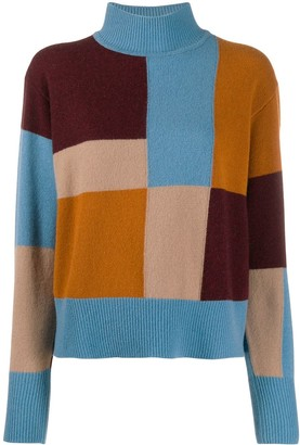 Equipment Colour Blocked Knitted Wool Jumper