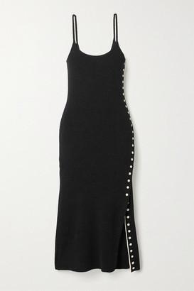 Proenza Schouler White Label Button-detailed Ribbed-knit Midi Dress - Black