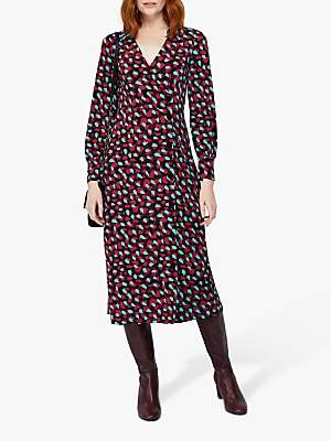 Monsoon Carla Spot Print Midi Dress, Red