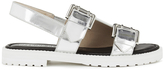Opening Ceremony Women's Mirror Leather Double Strap Sandals Silver