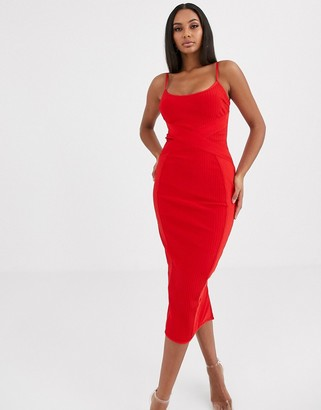 Missguided cross front bandage cami midaxi dress in red