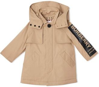 BURBERRY KIDS Detachable Hood Logo Print Twill Car Coat