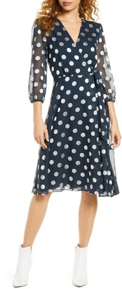 Charles Henry Polka Dot Chiffon Wrap Dress