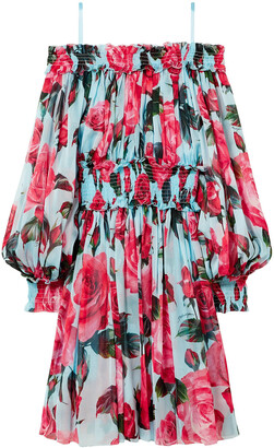 Dolce & Gabbana Cold-shoulder Floral-print Silk-chiffon Dress