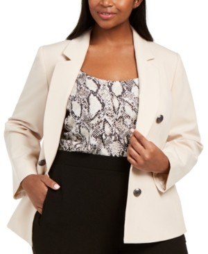 Bar III Trendy Plus Size Bi-Stretch Faux Double-Breasted Blazer, Created for Macy's