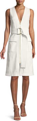 Diane von Furstenberg Sleeveless Zip-Front Knee-Length Dress