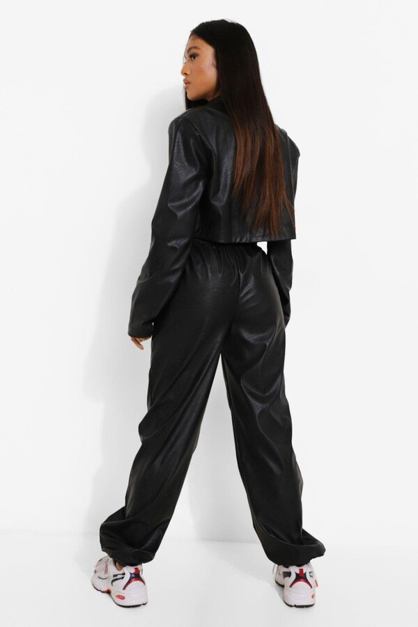 Thumbnail for your product : boohoo Petite Leather Look Tie Waist Joggers