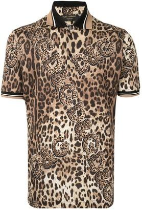 Dolce & Gabbana Leopard-Print Polo Shirt