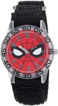 Marvel Boys Spider-Man Analog-Quartz Watch with Nylon Strap Black 19 (Model: WMA000187)