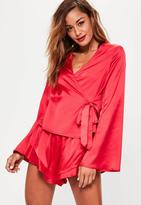 Missguided Red Long Sleeve Satin Pj Set, Red