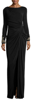 Badgley Mischka Jersey Draped Gown