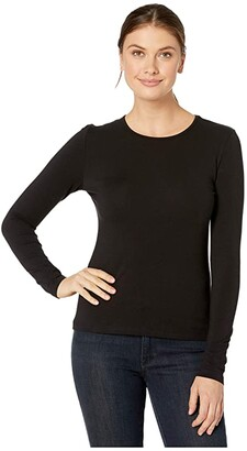 Lilla P Stretch Layering Long Sleeve Crew Neck Tee (Black) Women's Clothing