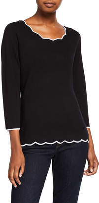 Neiman Marcus 3/-Sleeve Pullover With Scallop Detail