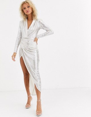 Forever U sequin wrap maxi dress in silver