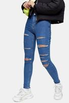 Topshop Mid Blue Super Rip Joni Skinny Jeans