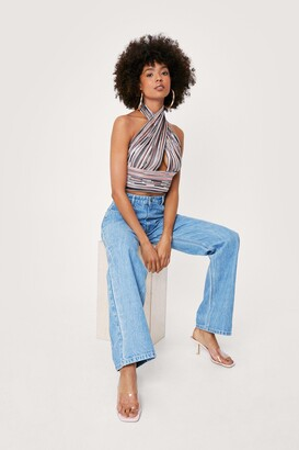 Nasty Gal Womens Striped Cut Out Halter Crop Top - Red - 4