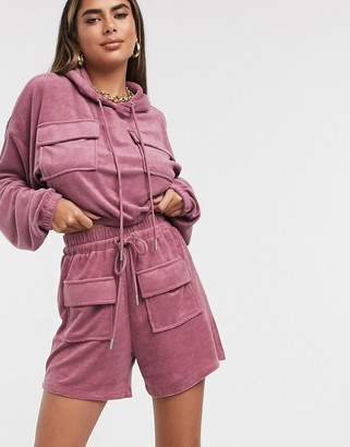 The Couture Club towelled cropped shorts in purple co ord