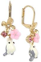 Betsey Johnson Gold-Tone Bird and Flower Drop Earrings