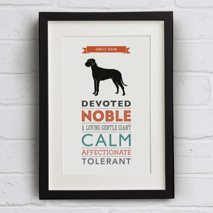 Breed Well Bred Design Great Dane Dog Traits Print
