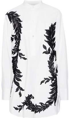 Oscar de la Renta Appliqued Cotton-blend Poplin Shirt