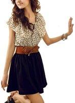 Donalworld Women Cute Stylish Polka Dot Flouncing Summer Dress Asia Size L