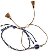 Unwritten 2-Pc. Set Two-Tone Blue Crystal, Cord and Tassel Adjustable Bracelets