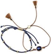 Unwritten 2-Pc. Set Two-Tone Blue Crystal, Cord & Tassel Adjustable Bracelets