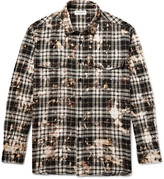 Saint Laurent - Oversized Bleached Checked Stretch-cotton Flannel Shirt