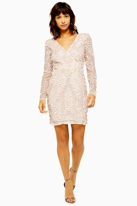 Lace & Beads Womens **Miu Embellished Dress By Taupe