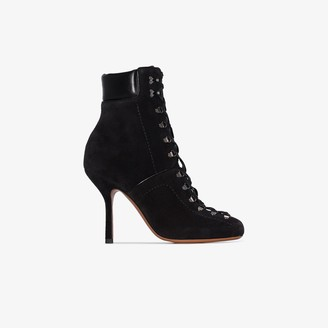 Alaia Black 105 Lace-Up Suede Ankle Boots