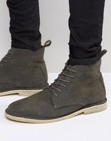 Asos High Desert Boots In Grey Suede