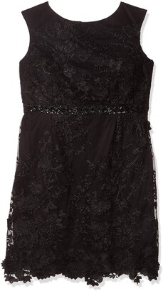 Brianna Women's Plus Size Three Dimensional Embroidery Floral Dress with Beaded Waist