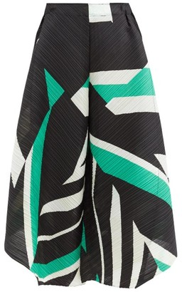 Pleats Please Issey Miyake Geometric-print Technical-pleated Culottes - Green White