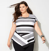 Avenue Classic Striped Asymmetrical Top