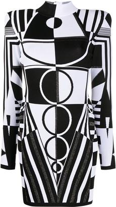 Balmain Jacquard Geometric-Pattern Mini Dress