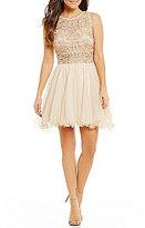 As U Wish Lace Open-Back Illusion-Yoke Top To Mesh Skirt Two-Piece Dress