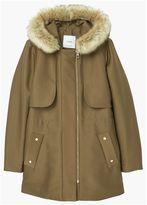 MANGO Faux Fur Applique Quilted Parka