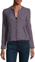 Rebecca Taylor Graphic Tweed Zip-Front Jacket, Navy