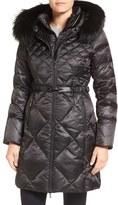 1 Madison Women's Bib Inset Down Coat With Genuine Fox Fur Trim