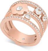 Michael Kors Rose Gold-Tone Crystal Flower Triple-Row Ring