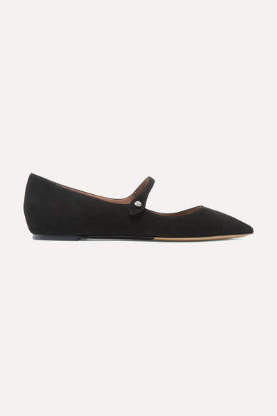 Tabitha Simmons Hermione Suede Point-toe Flats - Black
